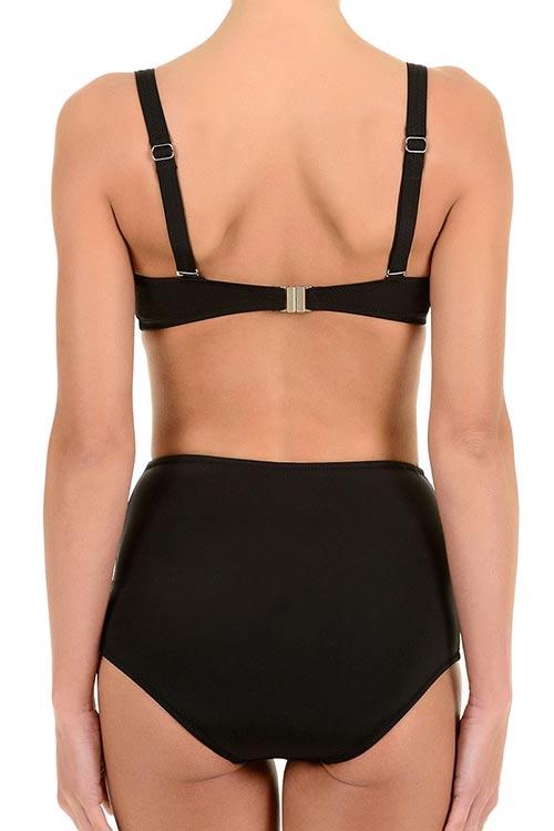 Černé dvoudílné plavky s vysokýma kalhotkama