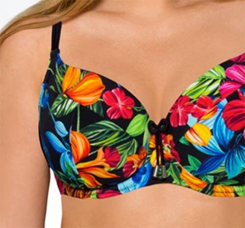 Dámské dvojdílné plavky s výrazným květinovým motivem