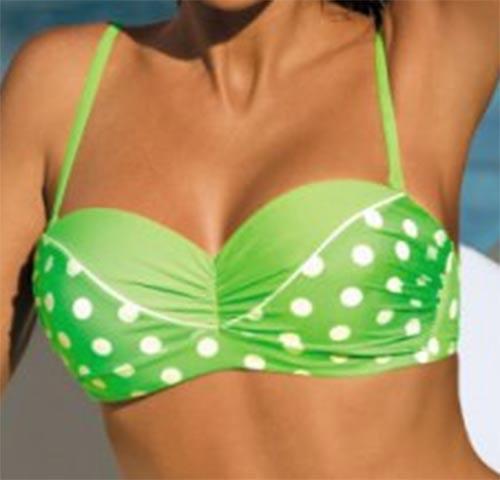 Zelene bardot plavky s bilymi puntíky