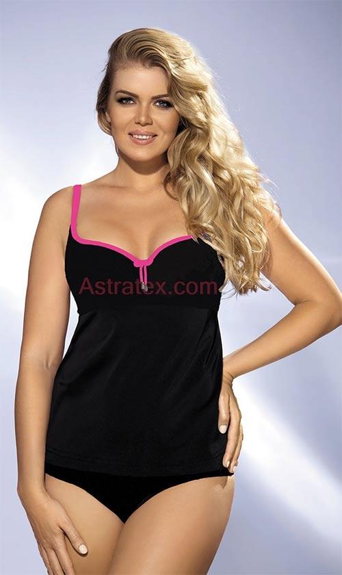 Černé plavky – tankiny Lea pink volnějšího střihu