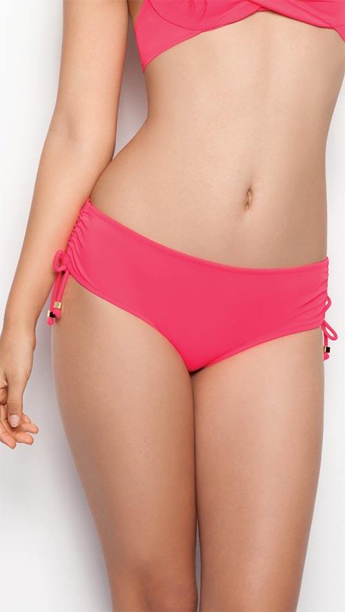 Růžové plavkové kalhotky se stahovacími tkaničkami na bocích