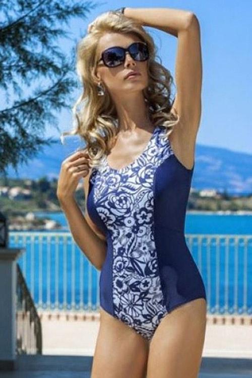 Modré jednodílné plavky Julie