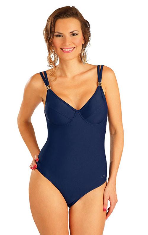 Modré jednodílné plavky s kosticemi
