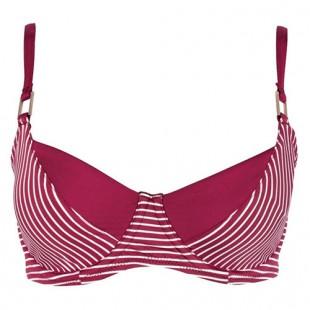 Pruhovaná plavková podprsenka CHANGE Summer Stripe Red full shaper