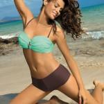 Mátovo-hnědé plavky pro plnoštíhlé Marko Tiffany Seafoam