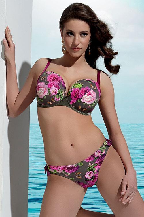 Dámské luxusní dvoudílné plavky Geraldine se vzorem fuchsiových růží a motýlů
