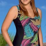 Jednodílné plavky pro plnoštíhlé s originálním vzorem