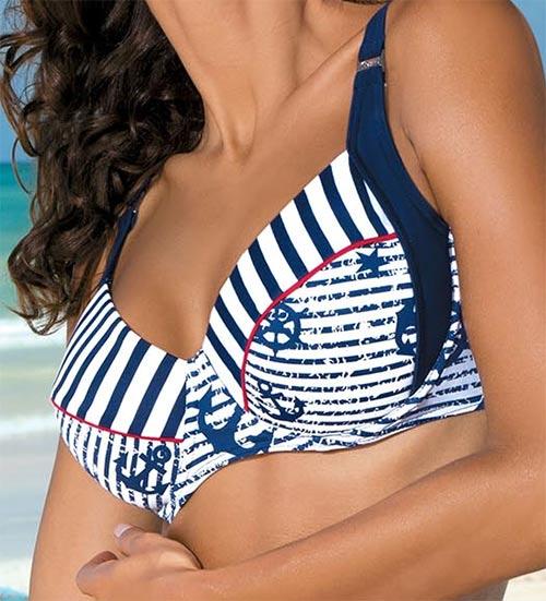 Bílo-modrá plavková podprsenka pro větší prsa