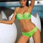 Zelené puntíkované 3XL plavky bardotka Marko Anastacia