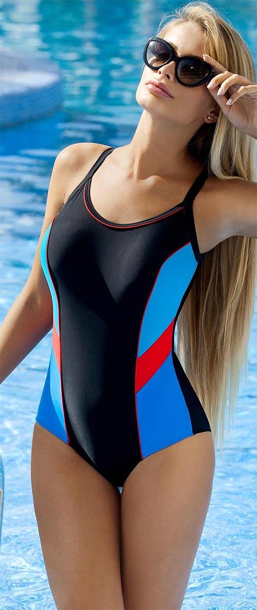 Sportovní jednodílné plavky s push-up vycpávkami
