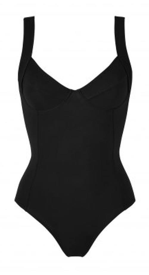 Černé jednodílné plavky s kosticí