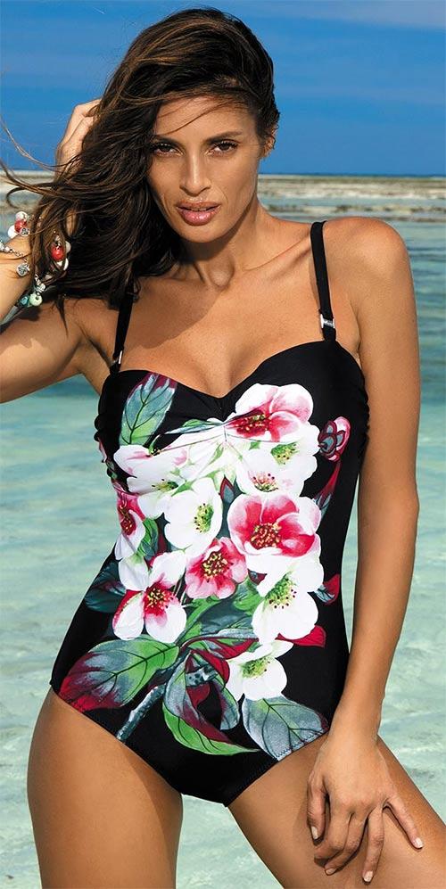 Černé jednodílné plavky s květinovým potiskem