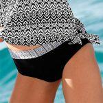 Černobílé etno plavky Blancheporte zeštíhlujícího střihu