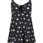 Bílo-černé puntíkované plavky - šaty