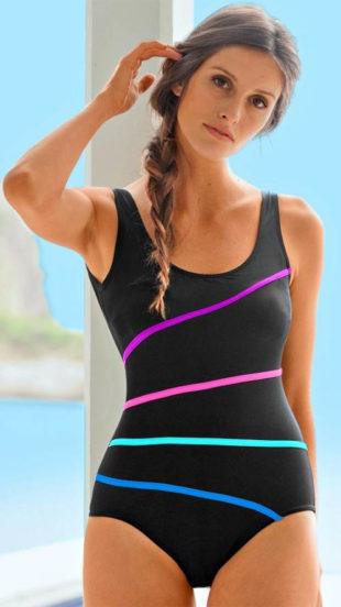 Černé jednodílné plavky s kontastními neonovými pruhy
