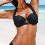 Bardot plavky větších velikostí s vyztuženými košíčky