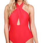 Červené jednodílné plavky s překřížením