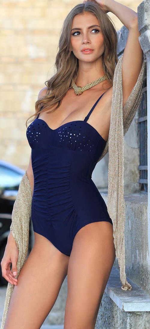 Modré jednodílné bardot plavky