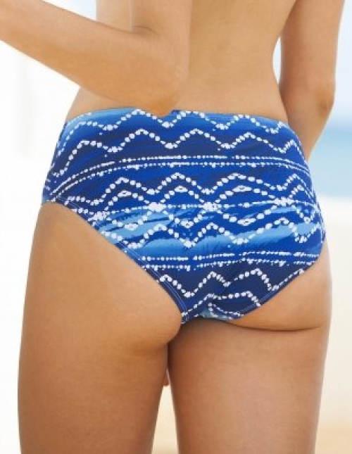 Modré stahovací plavky pro plnoštíhlé