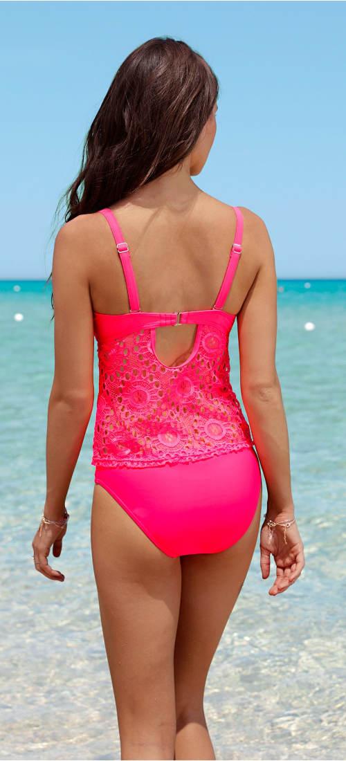 Růžové krajkové plavky