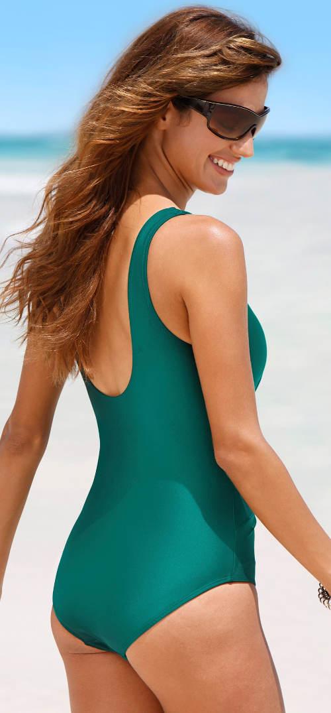 Smaragdově zelené jednodílné plavky