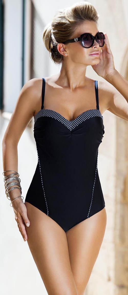 XXXL jednodílné plavky s vyztuženými pushup košíčky
