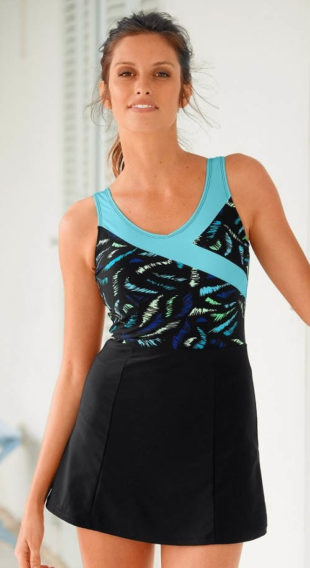 Jednodílné dámské plavky se sukní