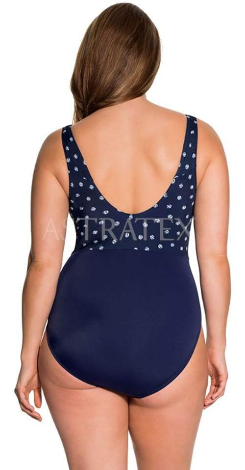 Modré nadměrné dámské plavky s puntíky