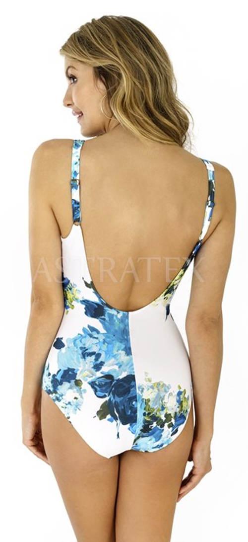 Bílo-modré květované jednodílné plavky