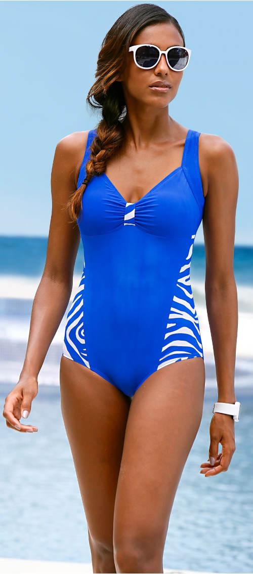 Levné modré plavky pro silnější postavu