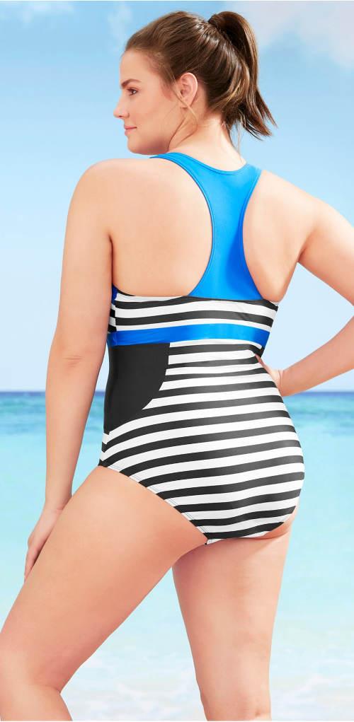 Sportovní plavecké plavky pro plnoštíhlé