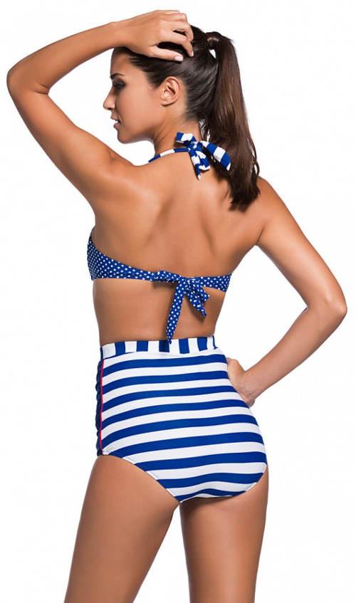 Pruhované modro-bílé plavky s vyššími kalhotkami
