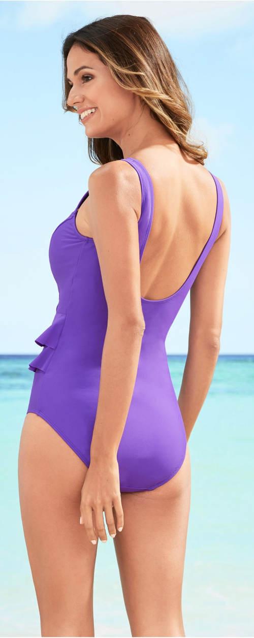 Fialové jednodílné plavky s volánky