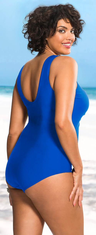 Modré jednodílné plavky pro boubelky
