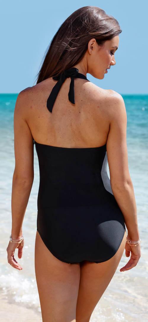 Černé dámské jednodílné plavky s ramínky za krk