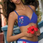 Dvoudílné push-plavky jensového vzhledu s květinovou výšivkou