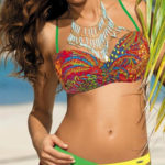 Pestrobarevné dámské bardot plavky