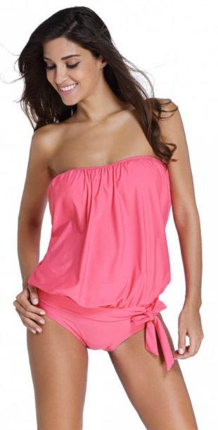 Růžové tankiny nad prsa s volnou látkou přes břicho
