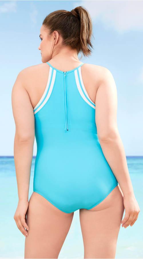 Tyrkysové jednodílné plavky se zipem na zádech