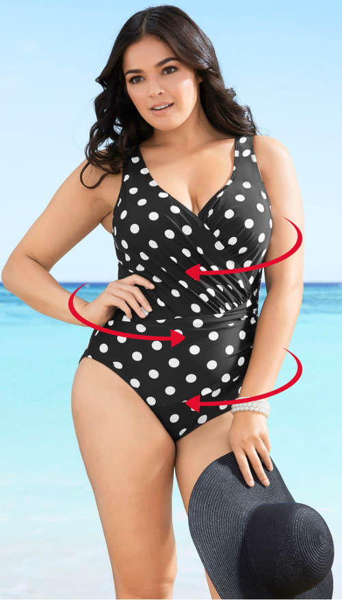 Puntíkované černobílé dámské plavky zavinovacího vzhledu
