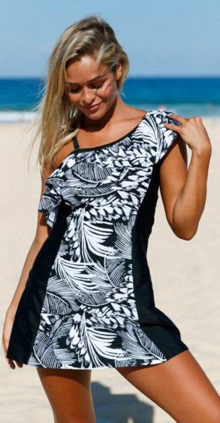 Černobílé květované plavkové šaty