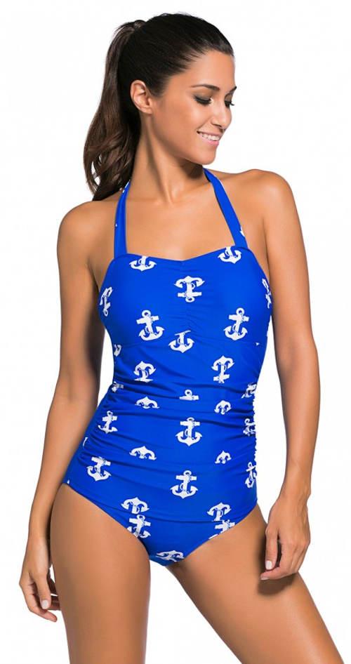 Zářivě modré námořnické plavky pro plnoštíhlé