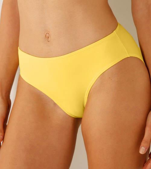 Žluté plavkové kalhotky pro plnoštíhlé