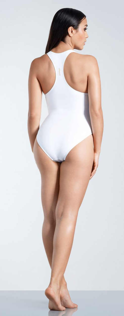 Bílé dámské jednodílné plavky se sportovními zády