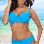 Nevyztužené modré plavky pro plnoštíhlé s ohrnovacími kalhotkami