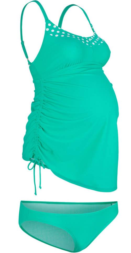 Zelené plavky tankiny pro těhotné