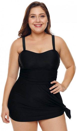 Černé plavkové šaty pro plnoštíhlé Tamiko