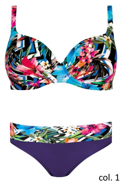 Dvoudílné květované plavky pro plnoštíhlé Self