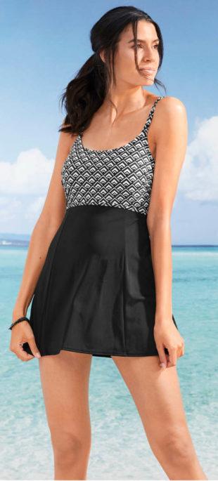 Plavkové šaty Bonprix s integrovanými kalhotkami