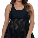 Černé koupací plus size šaty